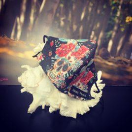 Mascarilla Catrina negra flor