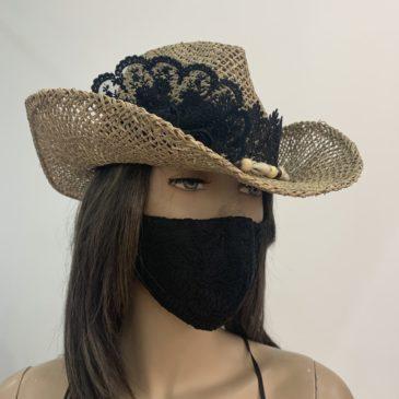 Sombrero negro puntillas y flor