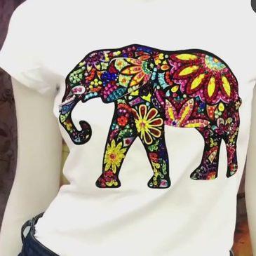 Camiseta elefante de algodón con cristales de swarosky
