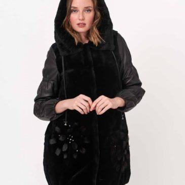 Abrigo globo negro de pelo y cuero