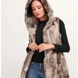 Chaleco con capucha de piel de conejo gris jaspeado