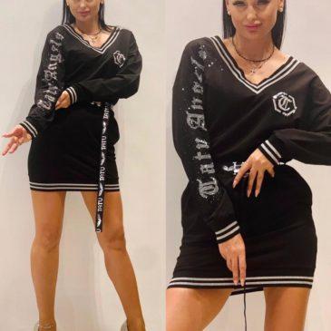 Vestido negro y plata pico
