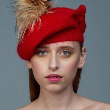 Boina de lana y pelo natural roja