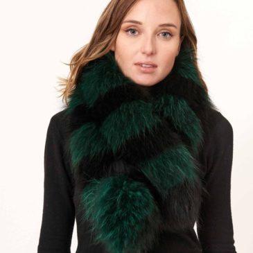 Cuello de piel de zorro verde y negro