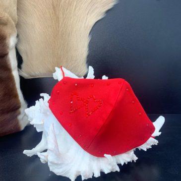 Mascarilla roja con corazón doble de cristales de Swarovski