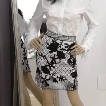 Falda de piallet blanca y negra