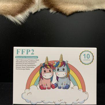 Mascarillas FFP2 10 unidades para niños y niñas de 3 a 8 años de dibujos de colores