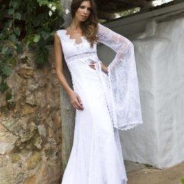 Vestido de novia ibicenco manga