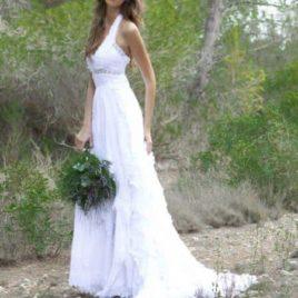 Vestido de novia ibicenco de cola