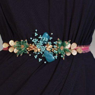 Cinturón joya turquesa