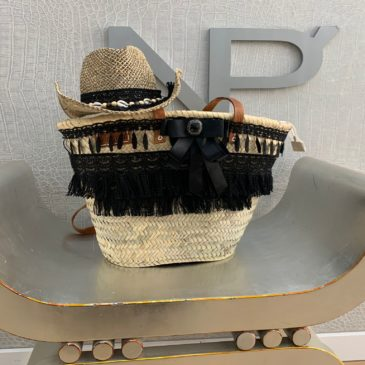 Conjunto sombrero y cesta cremallera negro Boho Chic
