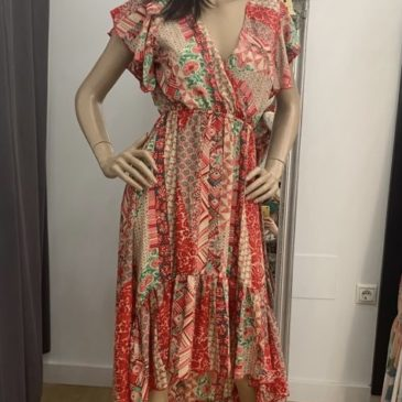 Vestido rojo claveles