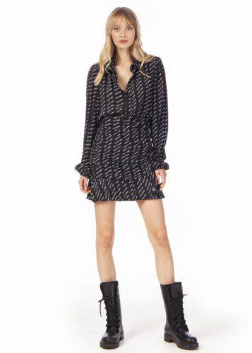 Conjunto negro de falda y blusa Odit