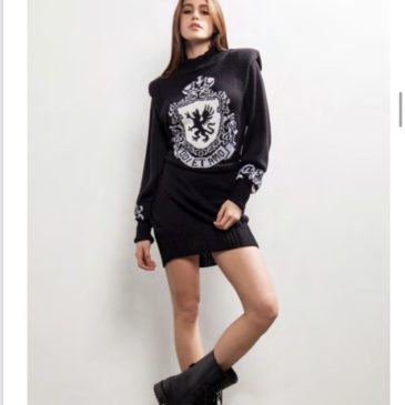 Vestido Odit Intarsio negro